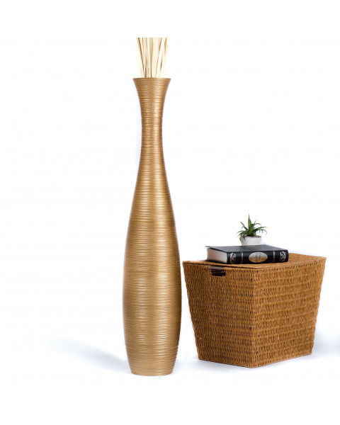 Leewadee Tall Big Floor Standing Vase For Home Decor 44 inches, Mango Wood, golden