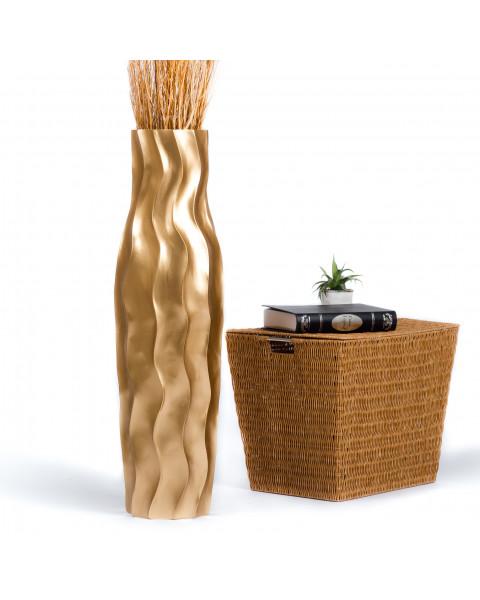 Leewadee Tall Big Floor Standing Vase For Home Decor 90 cm, Mango Wood, golden