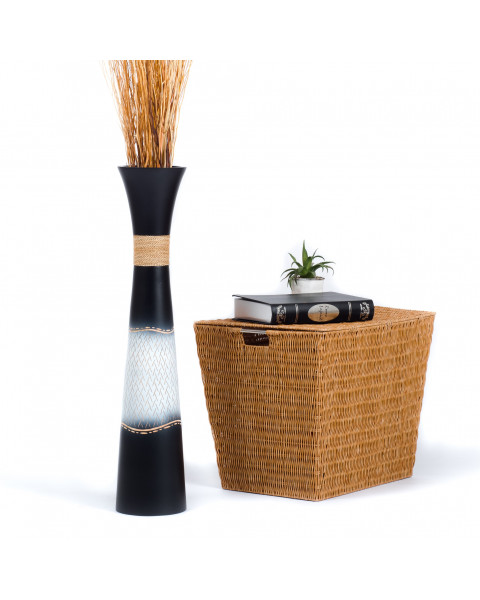 Leewadee Tall Big Floor Standing Vase For Home Decor 30 inches, Mango Wood, black white