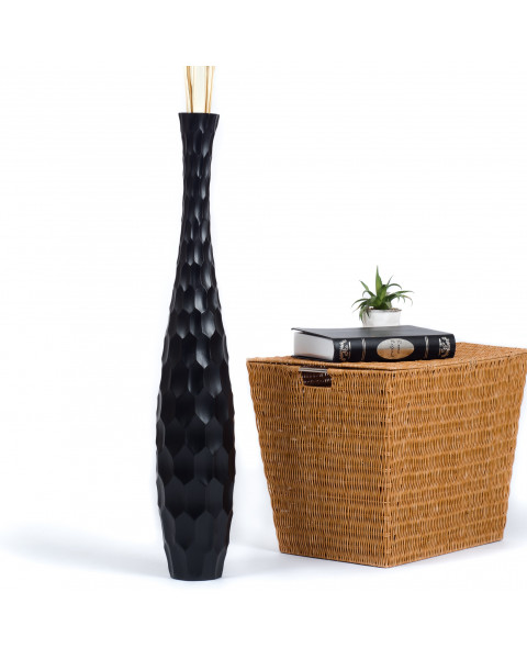 Leewadee Tall Big Floor Standing Vase For Home Decor 30 inches, Mango Wood, black