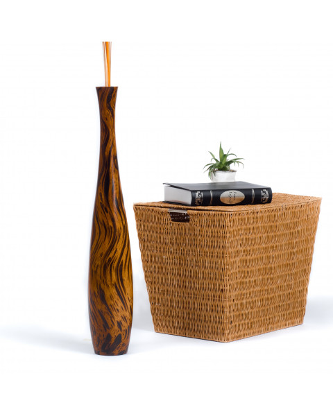 Leewadee Tall Big Floor Standing Vase For Home Decor 30 inches, Mango Wood, brown light brown