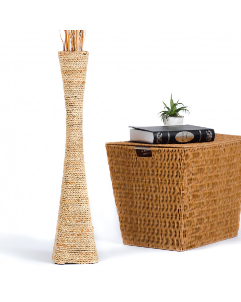 Leewadee Tall Big Floor Standing Vase For Home Decor 75 cm, Water Hyacinth, ecru