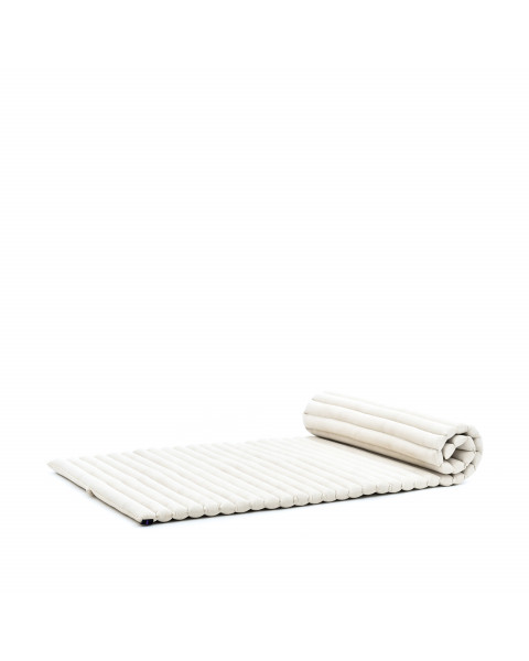 Leewadee Roll-Up Thai Mattress, 200x76x5 cm, Guest Bed Yoga Floor Mat Thai Massage Pad Eco-Friendly Organic and Natural,  Kapok, ecru