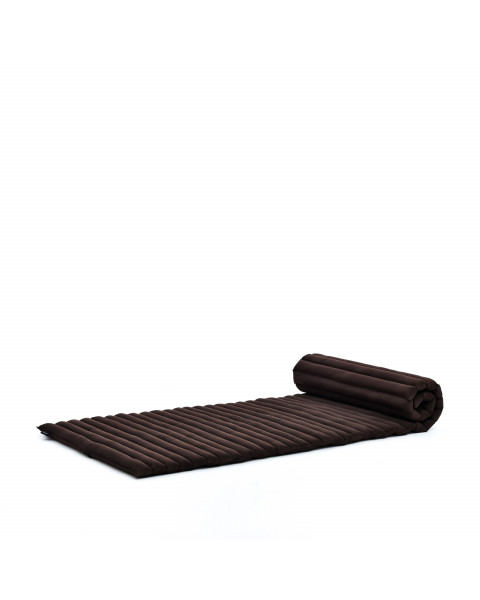 Leewadee Roll-Up Thai Mattress, 79x30x2 inches, Guest Bed Yoga Floor Mat Thai Massage Pad Eco-Friendly Organic and Natural,  Kapok, brown