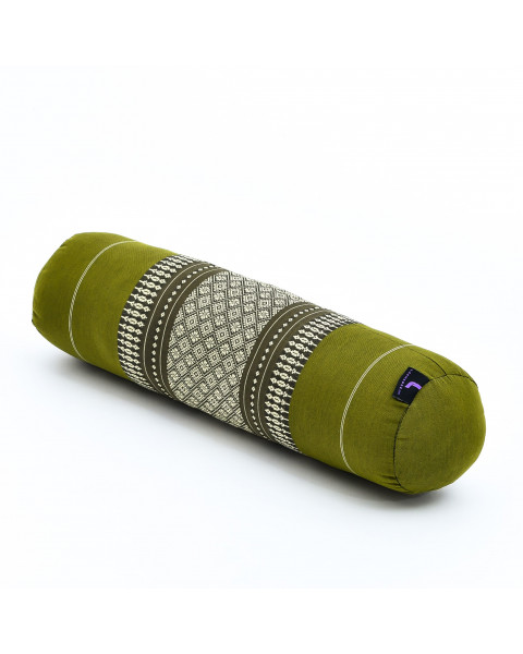 Leewadee Small Yoga Bolster Pilates Supportive Roll Cushion Neck Pillow Eco-Friendly Organic and Natural, 22x6x6 inches, Kapok, green