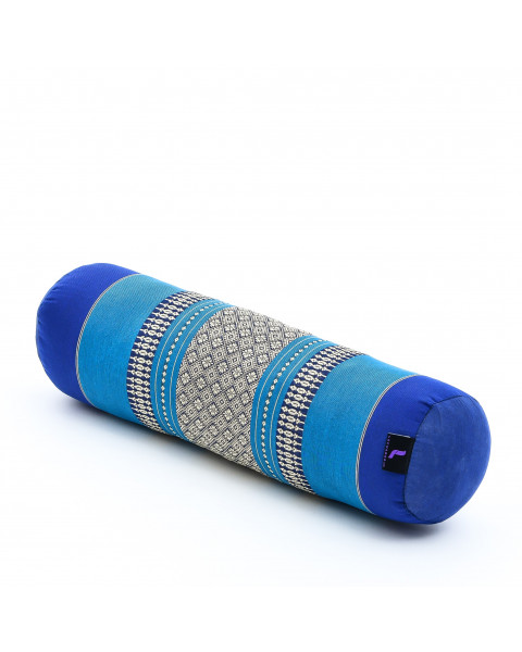 Leewadee Small Yoga Bolster Pilates Supportive Roll Cushion Neck Pillow Eco-Friendly Organic and Natural, 22x6x6 inches, Kapok, blue