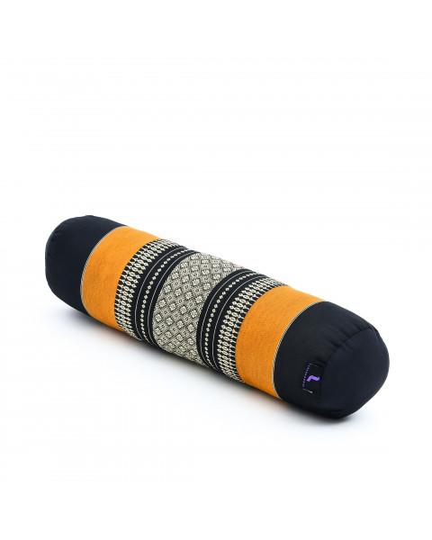 Leewadee Small Yoga Bolster Pilates Supportive Roll Cushion Neck Pillow Eco-Friendly Organic and Natural, 22x6x6 inches, Kapok, black orange