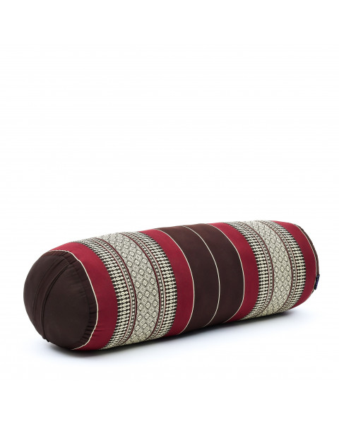 Leewadee Long Yoga Bolster Supportive Pilates Roll Cushion Neck Pillow Eco-Friendly Organic and Natural, 26x10x10 inches, Kapok, brown red