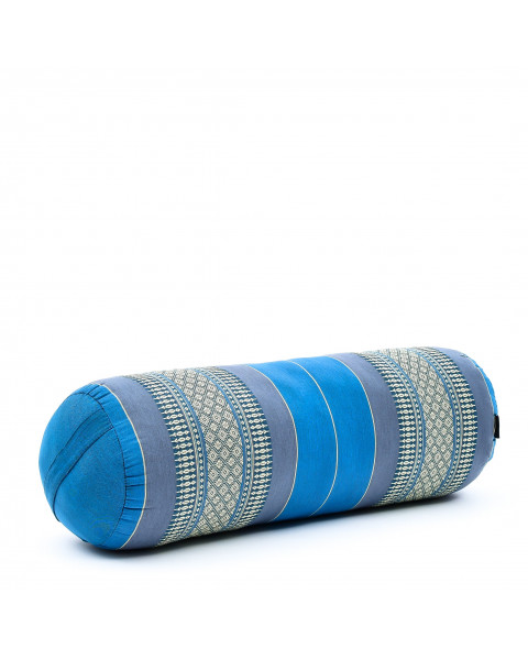 Leewadee Long Yoga Bolster Supportive Pilates Roll Cushion Neck Pillow Eco-Friendly Organic and Natural, 26x10x10 inches, Kapok, light blue