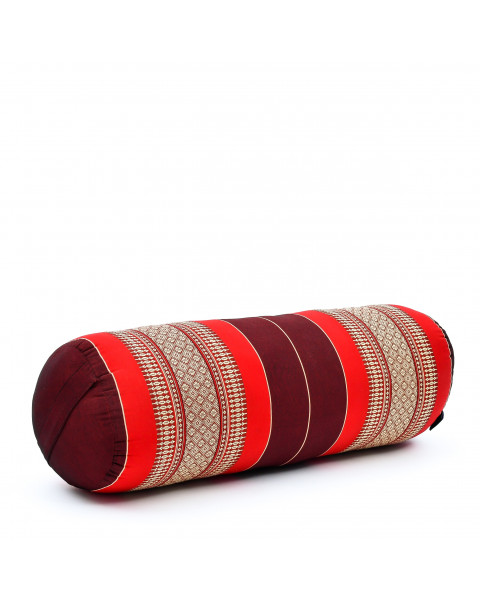Leewadee Long Yoga Bolster Supportive Pilates Roll Cushion Neck Pillow Eco-Friendly Organic and Natural, 26x10x10 inches, Kapok, red
