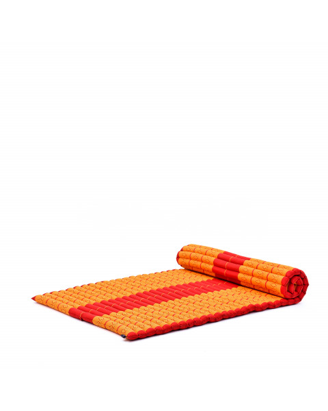 Leewadee Roll-Up Thai Mattress Twinsize Guest Bed Yoga Floor Mat Thai Massage Pad Eco-Friendly Organic and Natural, 200x105x5 cm, Kapok, orange red