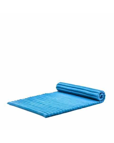Leewadee Roll-Up Thai Mattress Twinsize Guest Bed Yoga Floor Mat Thai Massage Pad Eco-Friendly Organic and Natural, 200x105x5 cm, Kapok, light blue