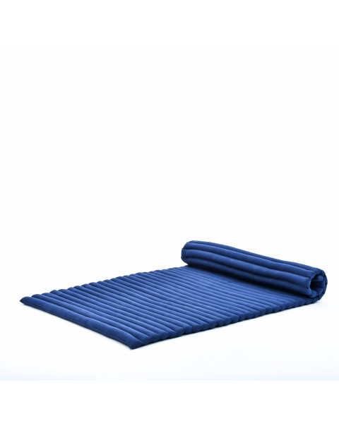 Leewadee Roll-Up Thai Mattress Twinsize Guest Bed Yoga Floor Mat Thai Massage Pad Eco-Friendly Organic and Natural, 200x105x5 cm, Kapok, blue