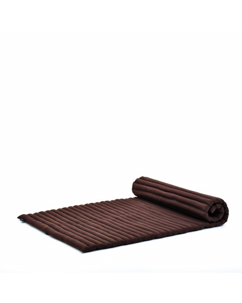 Leewadee Roll-Up Thai Mattress Twinsize Guest Bed Yoga Floor Mat Thai Massage Pad Eco-Friendly Organic and Natural, 79x41x2 inches, Kapok, brown