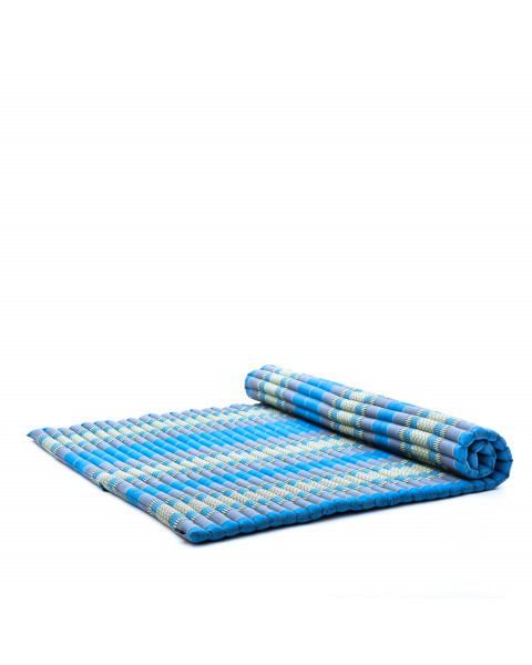 Leewadee Roll-Up Thai Mattress, 79x57x2 inches, Guest Bed Yoga Floor Mat Thai Massage Pad XL Twinsize Eco-Friendly Organic and Natural,  Kapok, light blue