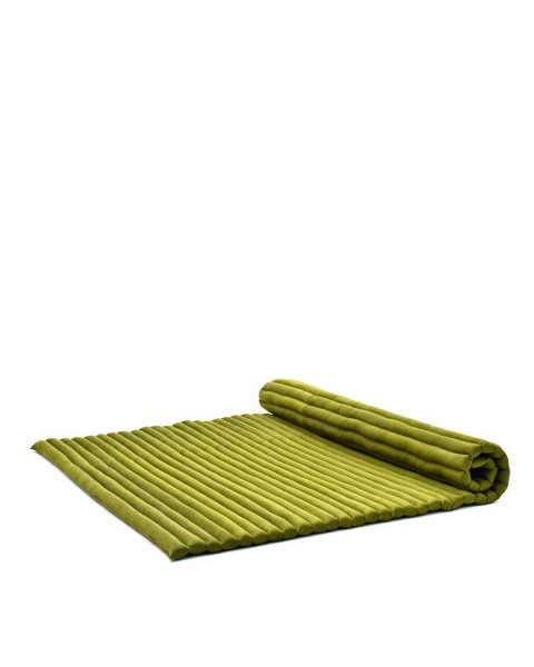 Leewadee Roll-Up Thai Mattress, 200x145x5 cm, Guest Bed Yoga Floor Mat Thai Massage Pad XL Twinsize Eco-Friendly Organic and Natural,  Kapok, green