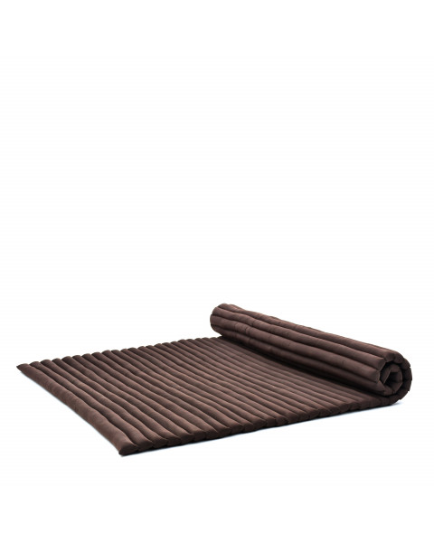 Leewadee Roll-Up Thai Mattress, 200x145x5 cm, Guest Bed Yoga Floor Mat Thai Massage Pad XL Twinsize Eco-Friendly Organic and Natural,  Kapok, brown
