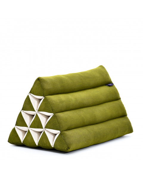 Leewadee Triangle Cushion Reading Pillow Backrest TV Pillow Eco-Friendly Organic and Natural, 50x33x33 cm, Kapok, green