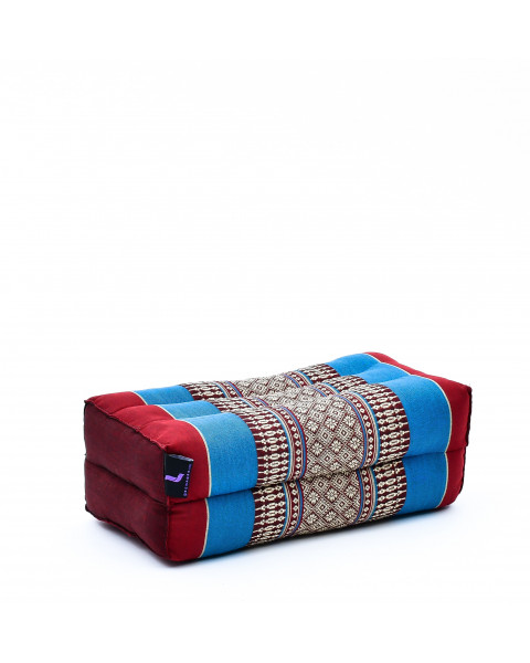 Leewadee bloque de yoga pequeño – Cojín alargado para pilates y meditación, cojín para el suelo hecho de kapok natural, 35 x 18 x 12 cm, azul rojo