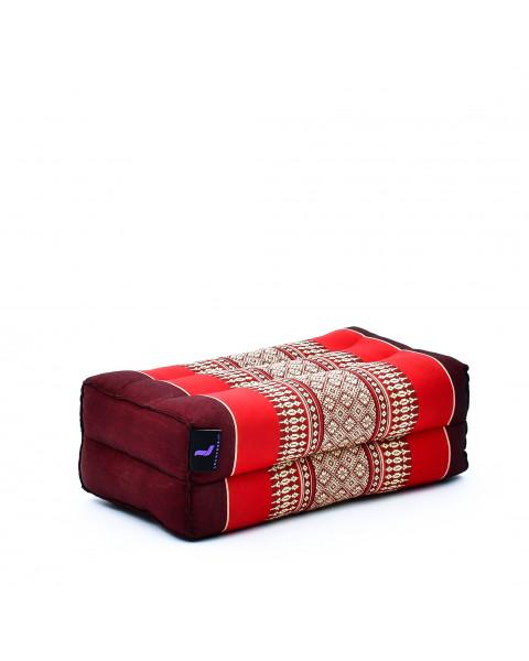 Leewadee bloque de yoga pequeño – Cojín alargado para pilates y meditación, cojín para el suelo hecho de kapok natural, 35 x 18 x 12 cm, rojo