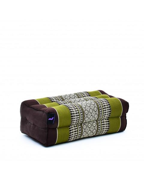 Leewadee bloque de yoga pequeño – Cojín alargado para pilates y meditación, cojín para el suelo hecho de kapok natural, 35 x 18 x 12 cm, marrón verde