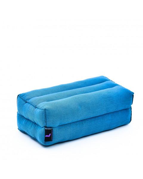 Leewadee bloque de yoga pequeño – Cojín alargado para pilates y meditación, cojín para el suelo hecho de kapok natural, 35 x 18 x 12 cm, azul claro