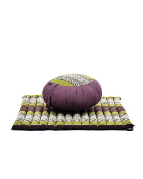 Leewadee set per meditare: tappeto per yoga Zabuton e cuscino per meditazione Zafu, materassino tailandese in kapok fatto a mano, marrone verde