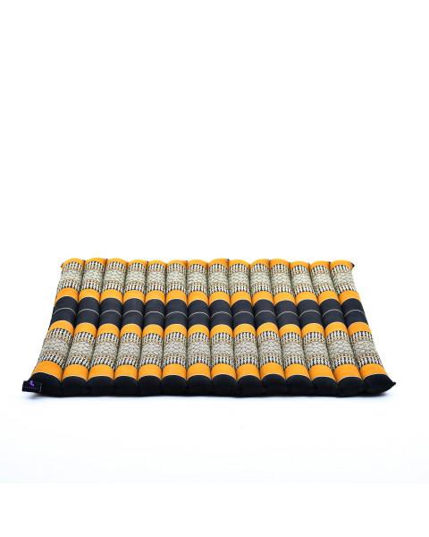 Leewadee Grande Tappetino Quadrato Zabuton Per La Seduta A Pavimento Cuscino Da Meditazione Ecologico Organico E Naturale, 69x78x4.5 cm, Kapok, arancione nero