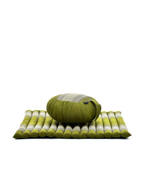 Leewadee set per meditare: tappeto per yoga Zabuton e cuscino per meditazione Zafu, materassino tailandese in kapok fatto a mano, verde