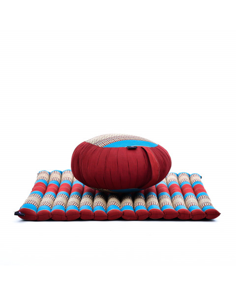 Leewadee Meditation Cushion Set: Round Zafu Pillow and Large Square Zabuton Mat For Floor Seating Eco-Friendly Organic and Natural, Kapok, blue red