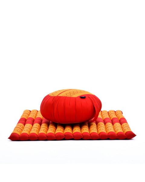 Leewadee Set de méditation - Set de méditation en kapok, coussin et tapis de méditation Zafu et Zabuton, ensemble de 2 pièces, orange rouge