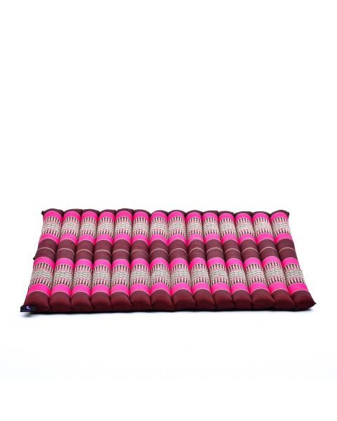 Leewadee tappetino da meditazione Zabuton: cuscino da pavimento quadrato, seduta per yoga thailandese in kapok ecologico, 69 x 78 cm, rosa fucsia rosso marrone