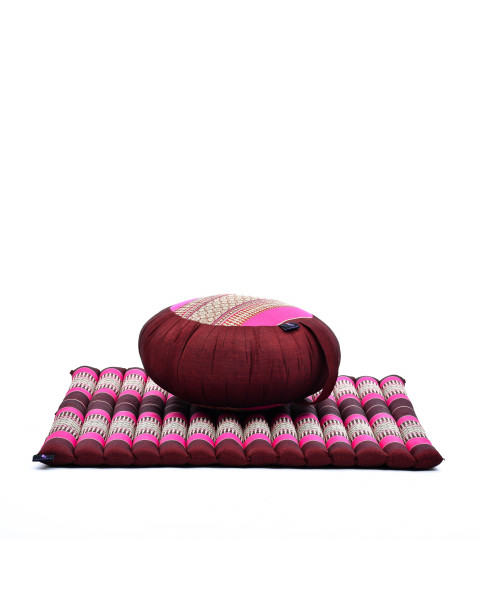 Leewadee Meditation Cushion Set: Round Zafu Pillow and Large Square Zabuton Mat For Floor Seating Eco-Friendly Organic and Natural, Kapok, auburn pink
