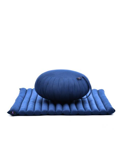 Leewadee set per meditare: tappeto per yoga Zabuton e cuscino per meditazione Zafu, materassino tailandese in kapok fatto a mano, blu
