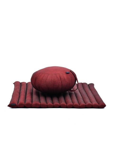 Leewadee set per meditare: tappeto per yoga Zabuton e cuscino per meditazione Zafu, materassino tailandese in kapok fatto a mano, rosso