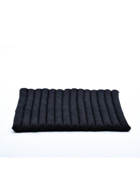 Leewadee Grande Tappetino Quadrato Zabuton Per La Seduta A Pavimento Cuscino Da Meditazione Ecologico Organico E Naturale, 69x78x4.5 cm, Kapok, nero