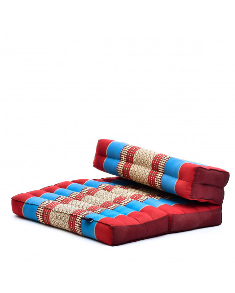 Leewadee Foldable Meditation Floor Seat 2 in 1 Set Meditation Pillow and Cushion Underlay In One Eco-Friendly Organic and Natural, Kapok, blue red