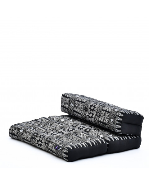 Leewadee Foldable Meditation Floor Seat 2 in 1 Set Meditation Pillow and Cushion Underlay In One Eco-Friendly Organic and Natural, Kapok, black