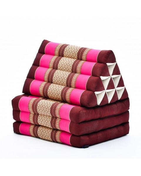 Leewadee Thai-Kissen Falt-Matratze Chill-Out Klapp-Matte Gepolsterte Lesestütze Boden-Liege-Matte mit Dreieck-Kissen Thai-Matte, 170x53x33 cm, Kapok, rotbraun pink
