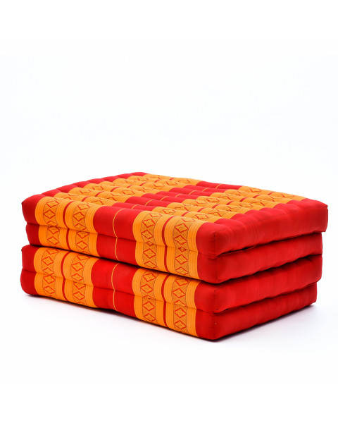 Leewadee Foldable Thai Mattress, 200x80x8 cm, Guest Bed Tri-Fold Yoga Floor Mat Thai Massage Pad TV Floor Seat with Backrest Game Chair Eco-Friendly Organic and Natural,  Kapok, orange red