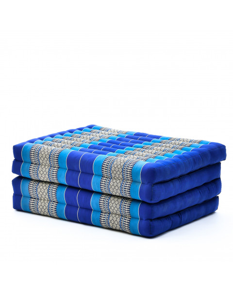 Leewadee Foldable Thai Mattress, 200x80x8 cm, Guest Bed Tri-Fold Yoga Floor Mat Thai Massage Pad TV Floor Seat with Backrest Game Chair Eco-Friendly Organic and Natural,  Kapok, blue