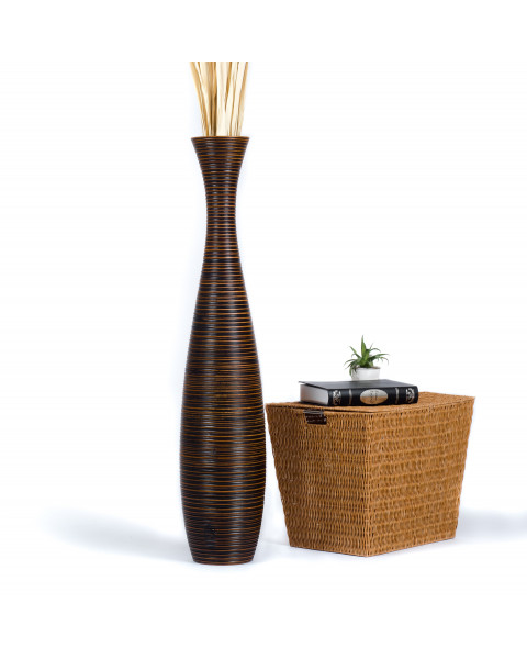 Leewadee Grand vase à poser au sol - Vase à poser au sol pour branches décoratives, vase haut design en bois de manguier, 112 cm, marron