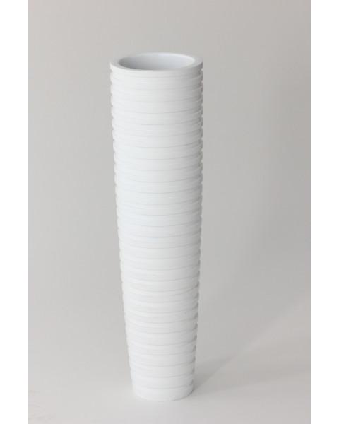Leewadee Grand vase à poser au sol - Vase à poser au sol pour branches décoratives, vase haut design en bois de manguier, 75 cm, blanc