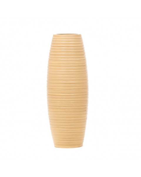 Leewadee Small Floor Standing Vase For Home Decor Centerpiece Table Vase, 6x16 inches, Mango Wood, cream