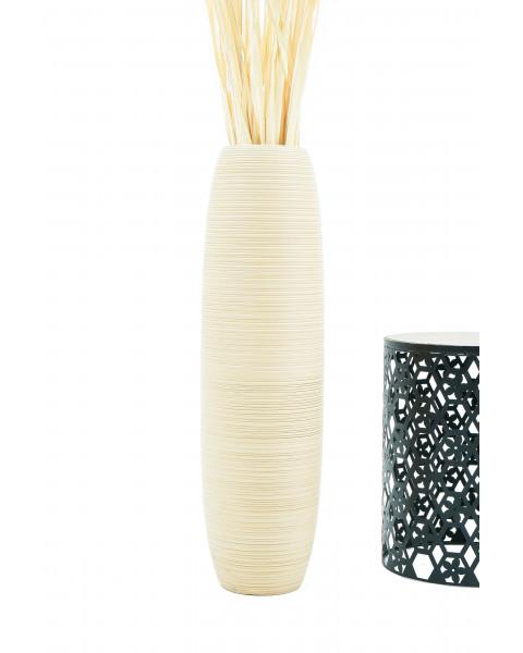 Leewadee Grand vase à poser au sol - Vase à poser au sol pour branches décoratives, vase haut design en bois de manguier, 90 cm, crème