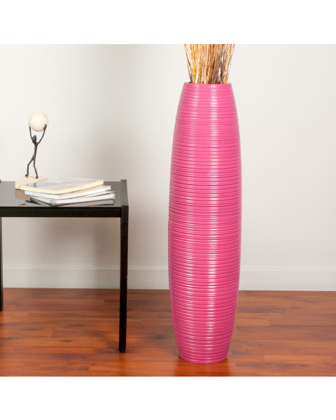 Leewadee Tall Big Floor Standing Vase For Home Decor 75 cm, Mango Wood, pink