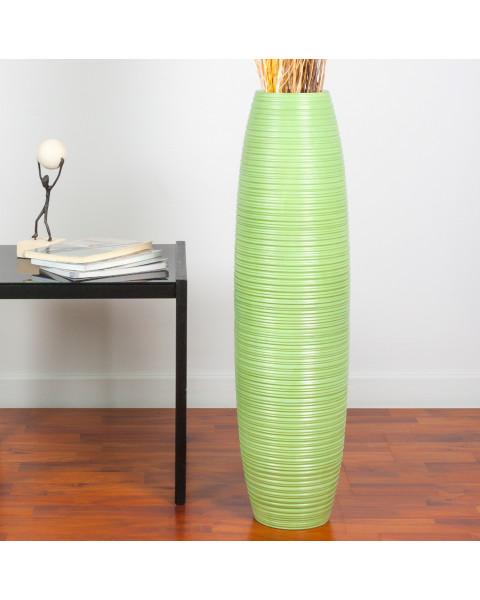 Leewadee Grand vase à poser au sol - Vase à poser au sol pour branches décoratives, vase haut design en bois de manguier, 75 cm, vert