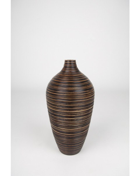 Leewadee Small Floor Standing Vase For Home Decor Centerpiece Table Vase, 8x16 inches, Mango Wood, brown