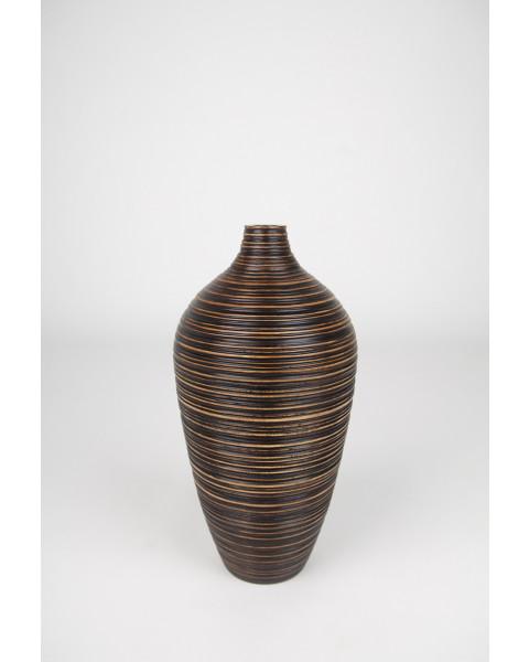 Leewadee Vase à poser au sol - Vase à poser au sol pour branches décoratives, vase haut design en bois de manguier, 41 cm, marron