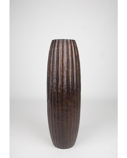 Leewadee Grand vase à poser au sol - Vase à poser au sol pour branches décoratives, vase haut design en bois de manguier, 75 cm, marron